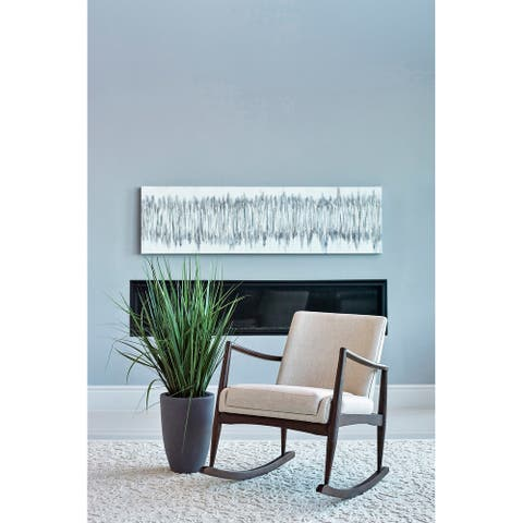 Lisette Beige Upholstered Rocking Chair with Wooden Arm