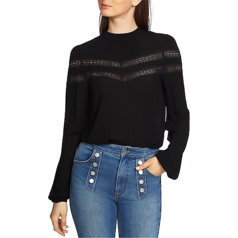 1.State Womens Lace Stripe Pullover Blouse
