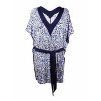 MICHAEL Michael Kors Women's Belted V-Neck Jersey Swim Coverup (M/L, New Navy) - New Navy - M/L