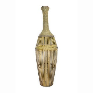 "41.25"" Champagne Metal and Bamboo Vase with a Decorative Band"