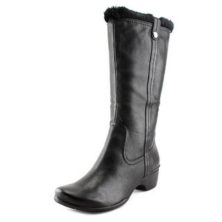 Hush Puppies Geovany Women Round Toe Synthetic Black Mid Calf Boot