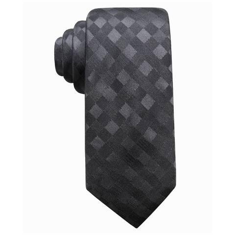 Ryan Seacrest Distinction Men's San Leo Gingham Slim Silk Tie Charcoal Size Regular