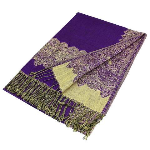 Pashmina Shawl Scarf Wrap Border Pattern Double Layered Reversible