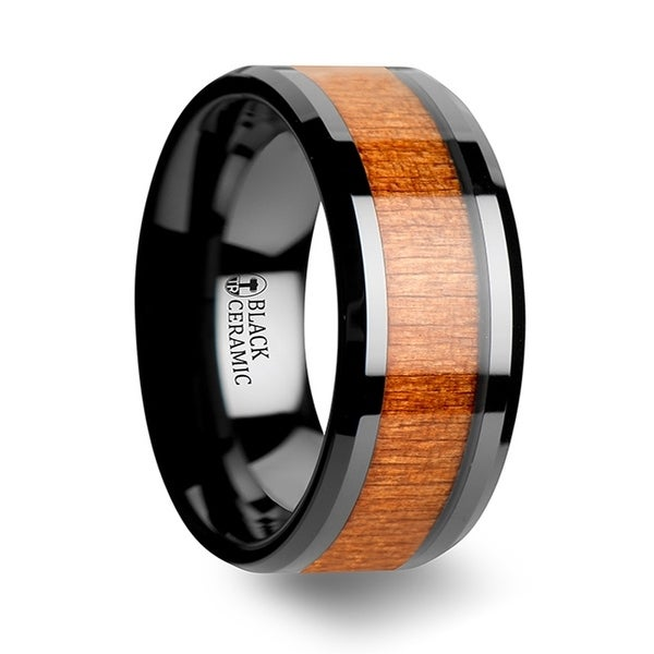 THORSTEN - IOWA Black Ceramic Wedding Ring with Polished Bevels and Black Cherry Wood Inlay - 10mm