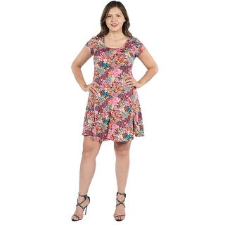 24Seven Comfort Apparel Margaret Pink Floral Fit and Flare Plus Size Mini Dress (3 options available)