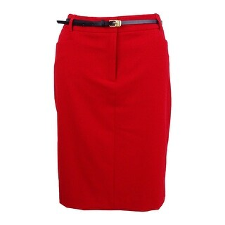 Calvin Klein Women's Petite Belted Pencil Skirt (10P, Red) - Red - 10P