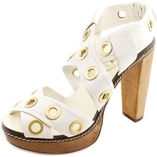 BCBG Max Azria Isis Women  Open Toe Leather Ivory Platform Sandal
