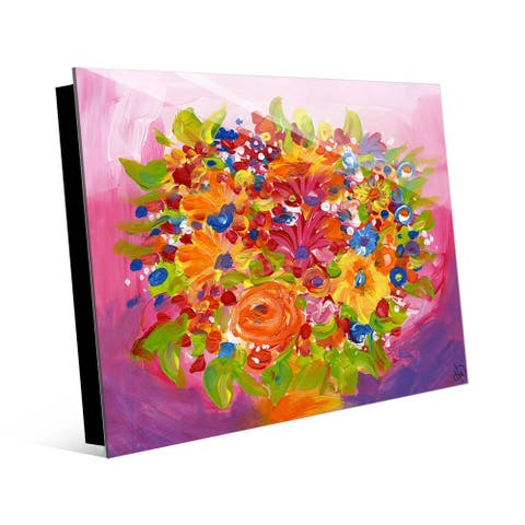 Kathy Ireland Floral Bouquet on Pink & Purple Abstract on Acrylic Wall Art Print