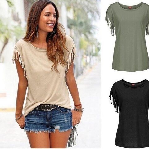 Fashion Summer Solid Tassel T-Shirts Top for Women +Necklace G1