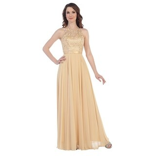 Chiffon & Lace Halter Gown (More options available)
