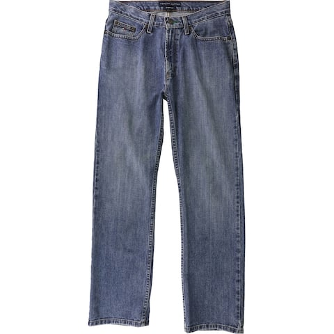 Tommy Hilfiger Mens Solid Straight Leg Jeans, Blue, 30W x 30L - 30W x 30L
