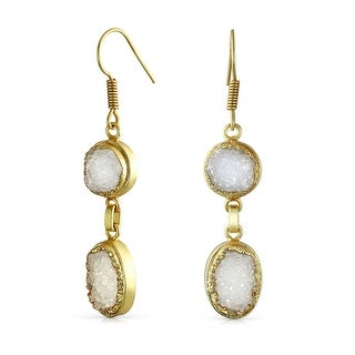 Bling Jewelry Gold Plated Round Oval White Druzy Agate Dangle Earrings