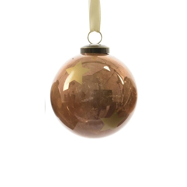 "3ct Luxury Lodge Shiny Bronze with Gold Star Christmas Ball Ornaments 3.25"" (80mm)"