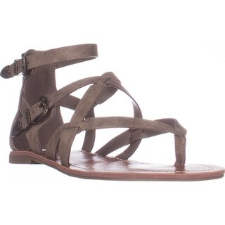 G Guess Hearn Flat Strappy Zip Sandals, Light Gray