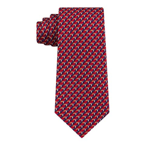 Tommy Hilfiger Men's Classic Small Toucan Silk Twill Tie Red One Size - FALSE