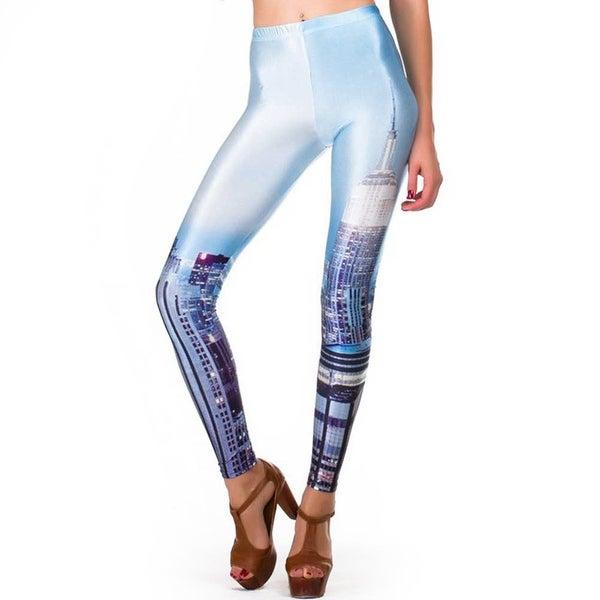 Fashion Lady Pattern Printed NYC Skyline Stretch Tight Leggings Skinny Pants