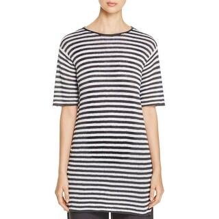 Eileen Fisher Womens Petites Tunic Sweater Linen Striped