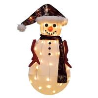 "24"" Pre-Lit Candy Lane Snowman in Camo Christmas Outdoor Decoration - Clear Lights - brown"