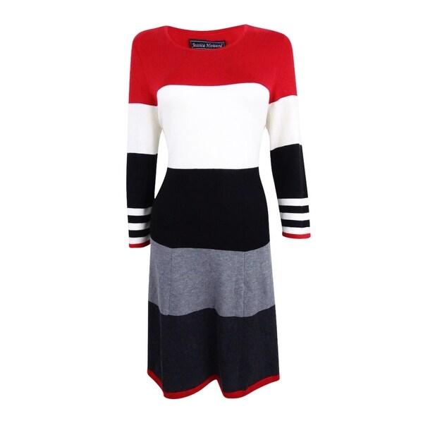 ee92d294b63 Shop Jessica Howard Women s Striped Fit   Flare Sweater Dress (M ...