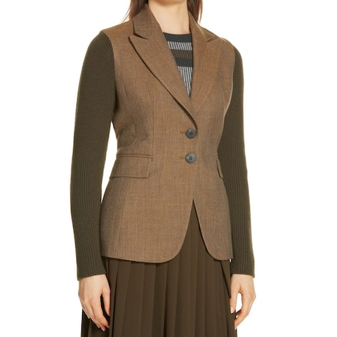 Lewit Womens Blazer Green Size 4 Two Button Notched-Lapel Knit-Sleeve