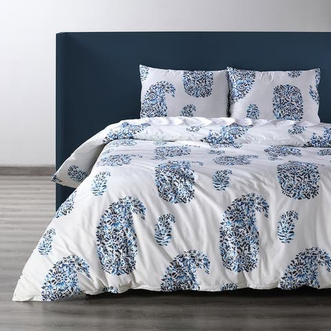 Exclusive Fabrics Paisley Park Blue Cotton Percale Printed Duvet Cover Set