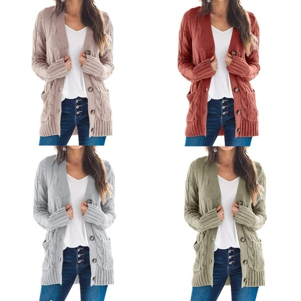 Button Down Knit Open Front Cardigan Sweater. Opens flyout.