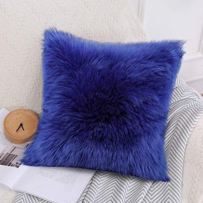 Premium Luxury Faux Fur Pillow Case/Seat Sofa Cushion Square Pillow Cover 18x18 in