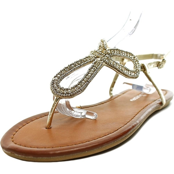 CL By Laundry Nikita Women Open Toe Synthetic Gold Thong Sandal