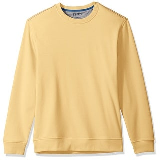 IZOD NEW Yellow Mens Size Medium M Performance Solid Crew Fleece Sweater