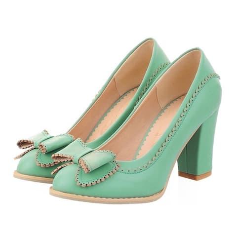 High Heel Hollow Macrame Bowknot Women Shoes Plus Size Blue