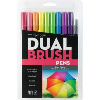Tombow Dual Brush Markers 10/Pkg-Bright|https://ak1.ostkcdn.com/images/products/is/images/direct/8ea6d4d66116014b5dada042d9da9b62fab37422/Tombow-Dual-Brush-Markers-10-Pkg-Bright.jpg?impolicy=medium