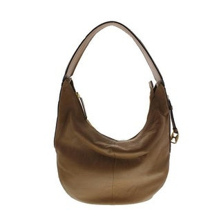 Halston Heritage Womens Leather Slouchy Hobo Handbag - Tan - Large