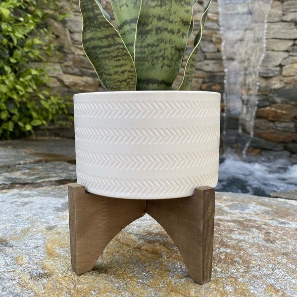 """Mid-Century 5"""" Arrow Ceramic Planter on Wood Stand,Matte White. Opens flyout."""