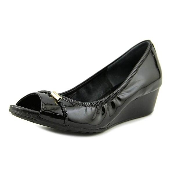 131934c1eb Shop Cole Haan Tali Grand Women Open Toe Patent Leather Black Wedge ...