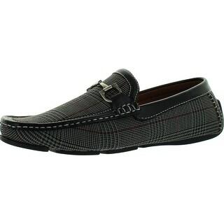 Faranzi Mens F4919 Plaid Euro Design Loafers With Chain Moccasin