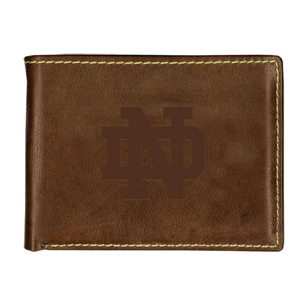University of Notre Dame Contrast Stitch Bifold Leather Wallet