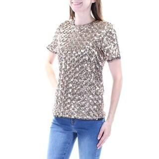 BAR III $90 Womens New 1382 Gold Sequined Short Sleeve Jewel Neck Top 2XS B+B