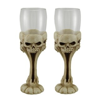 2 Piece Stretched Silent Screecher Glass Screaming Skulls Goblet Set