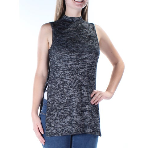 Womens Black Sleeveless Turtle Neck Casual Top Size S