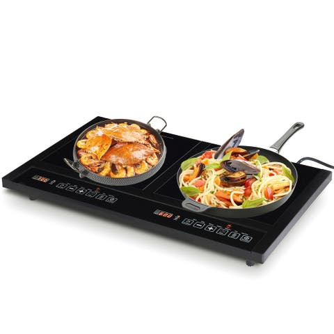 Costway Electric Dual Induction Cooker Cooktop 1800W Countertop Double