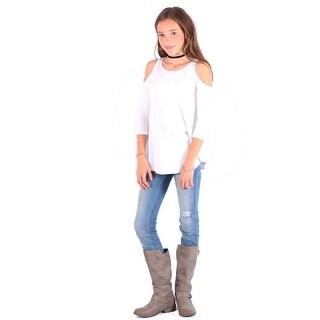 Lori&Jane Girls White Cold Shoulder Boat Neck Loose Fit Trendy Top