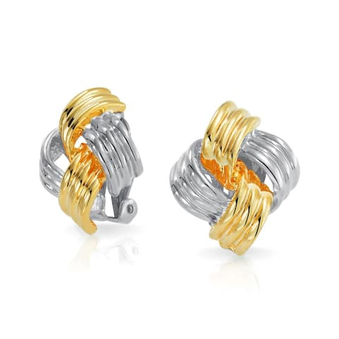 Square Twist Cable Knot Clip On Earring Silver Gold Plated