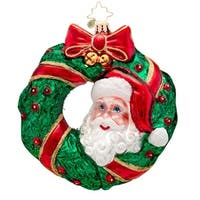 Christopher Radko Glass Peek-a-Boo Santa Christmas Ornament #1017142 - green