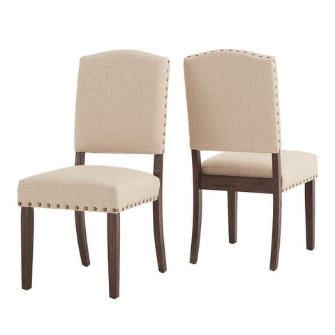 Benchwright Linen-look Side Chair with Nailhead Trim (Set of 2) by iNSPIRE Q Artisan