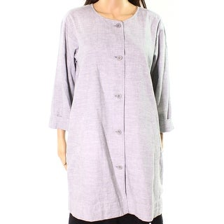 Eileen Fisher NEW Gray Womens Size Medium M Button Down Tunic Top