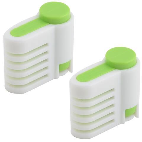Unique Bargains Family Kitchen Plastic Adjustable Cake Pie Bread Leveler Slicer White Green 2 Pcs