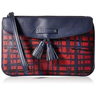 Vera Bradley Womens Faux Leather Plaid Wristlet Wallet
