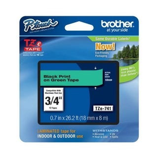 Brother GD1992G Brother Laminated Tape Black on Green 18mm