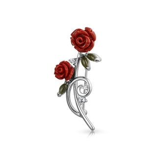 Bling Jewelry Red Resin Rose Jade CZ Rhodium Plated Brass Brooch Pin