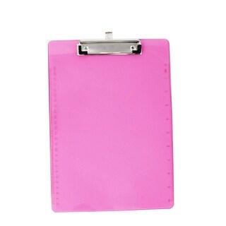 Unique Bargains Office School A4 Paper File Note Holder Clamp Clip Board Hardboard Clear Fuchsia